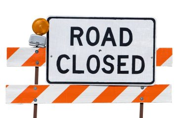 Photo of a road closed sign