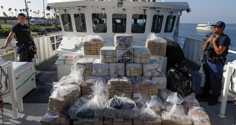 Photo of members of the Coast Guard and seized cocaine in Los Angeles