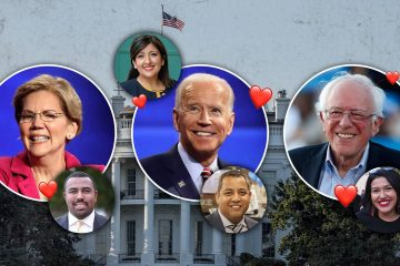Photo combination of Elizabeth Warren, Joe Biden, Bernie Sanders, Councilman Nelson Esparza, Senator Melissa Hurtado, Councilman Miguel Arias, and Councilwoman Jewel Hurtado