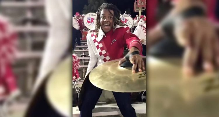 Fresno State marching band cymbals player Travis Morris