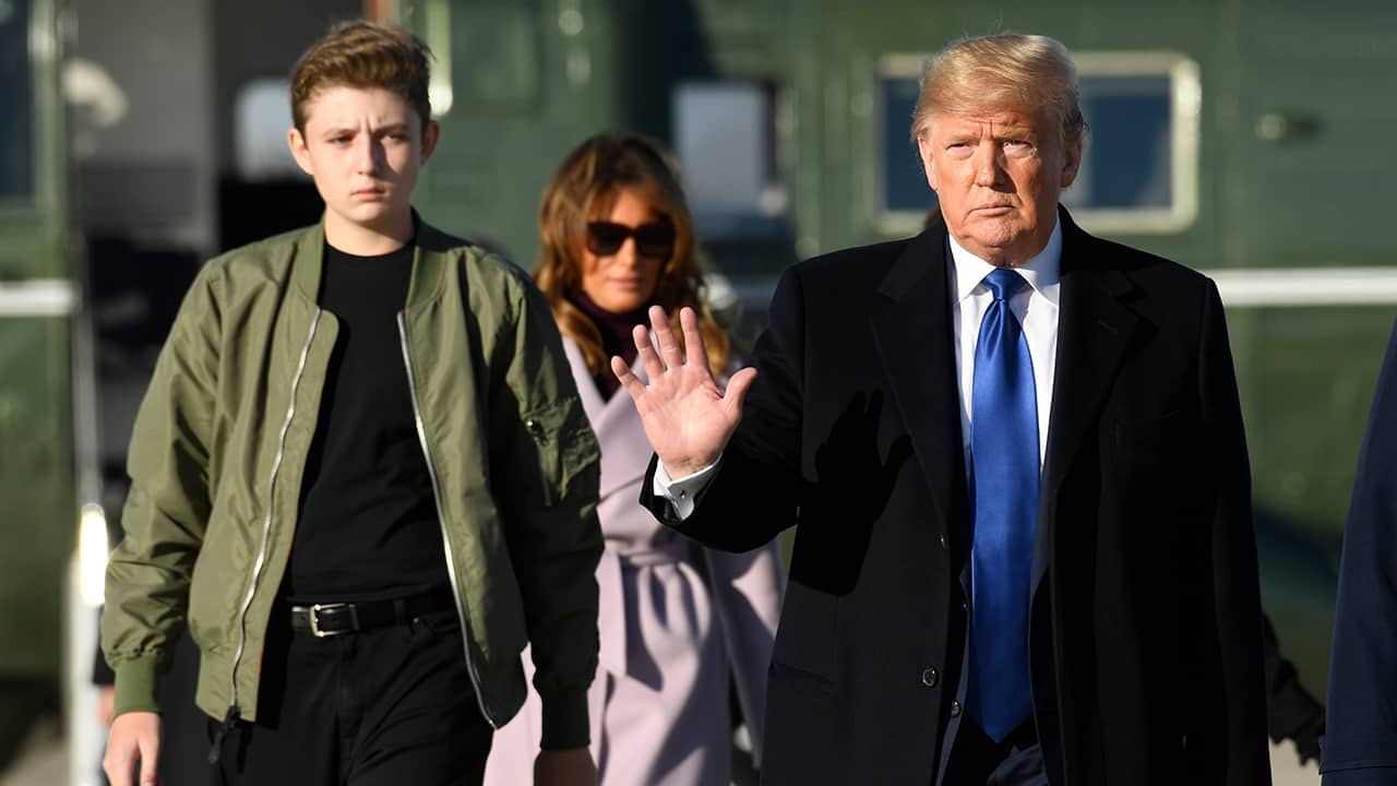Photo of President Donald Trump, Barron Trump, and First Lady Melania Trump