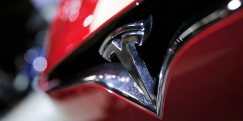 Photo of the logo of the Tesla model S
