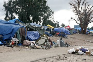 Photo of a homeless camp along the LA River