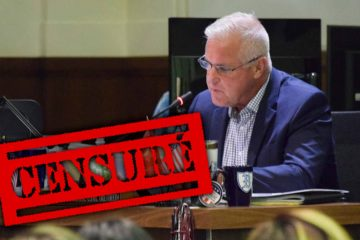 "Photo of FUSD Trustee Terry Slatic with a ""Censure"" stamp"