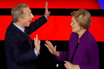 Photo of Tom Steyer and Sen. Elizabeth Warren