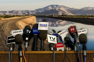 A montage of reporter microphones, a canal and a mountain symbolizing covering California water issues