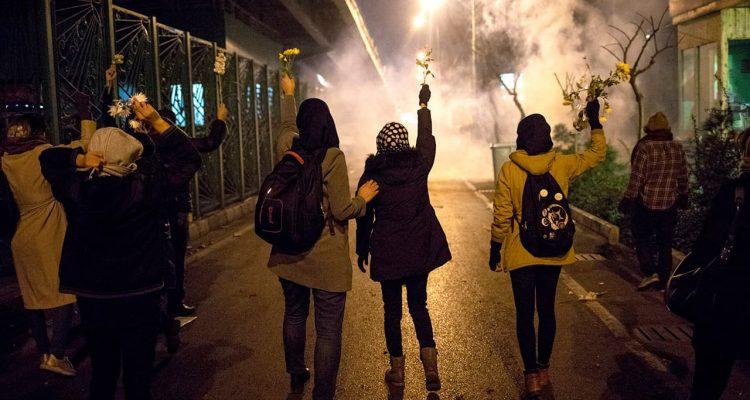 Photo of protestors in Tehran