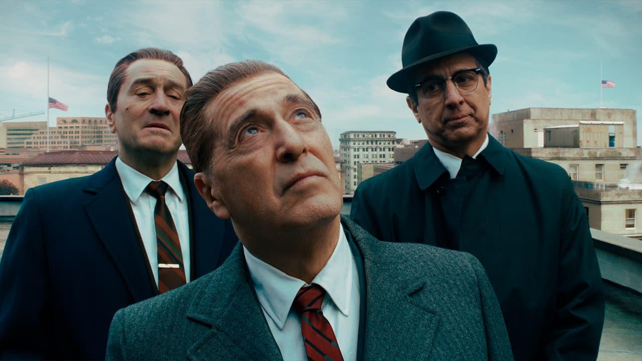 "Photo of Robert De Niro, Al Pacino and Ray Romano in a scene from ""The Irishman."""