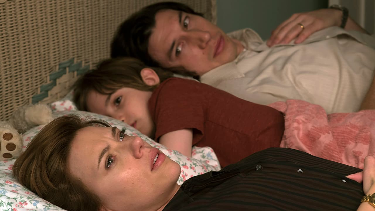 "Photo of Scarlett Johansson, left, and Adam Driver in ""Marriage Story."""