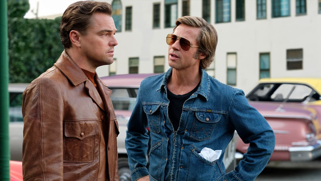 "Photo of Leonardo DiCaprio, left, and Brad Pitt in a scene from ""Once Upon a Time in Hollywood."""