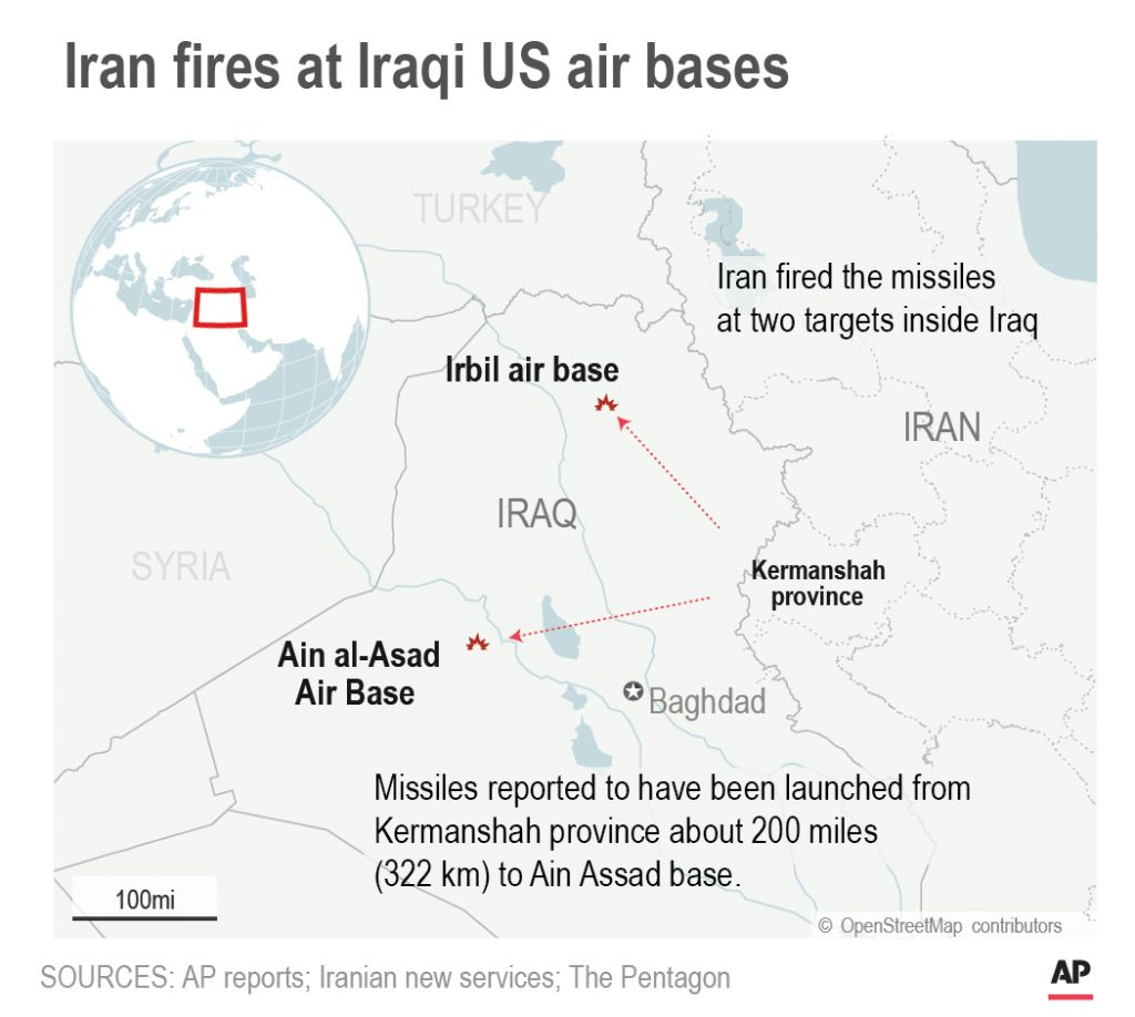 Map shows Iran missile strikes against two Iraqi air bases