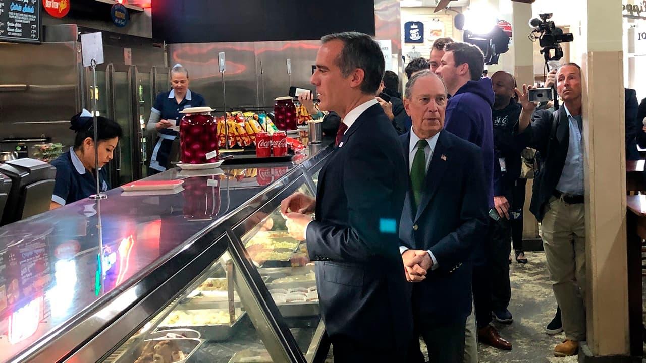 Photo of Michael Bloomberg and LA Mayor Eric Garcetti