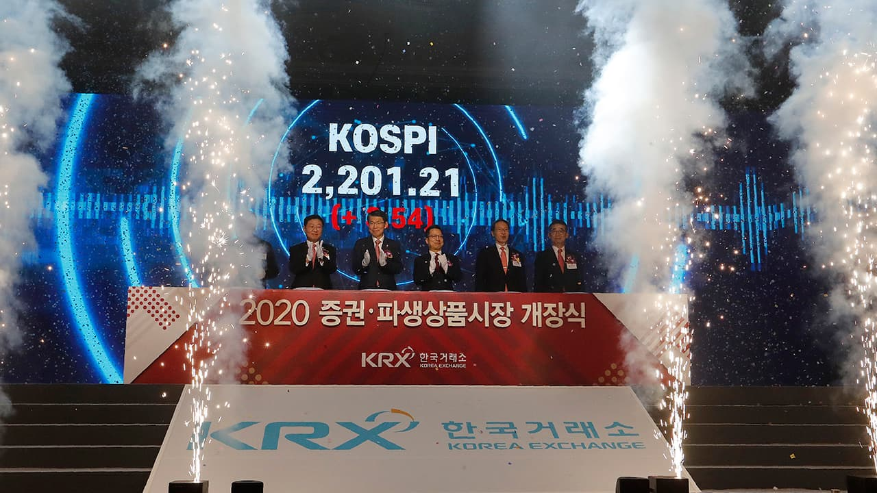 Photo of the opening of this year's trading in Seoul, South Korea