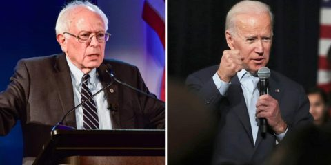 Photo combination of Sen. Bernie Sanders and former Vice President Joe Biden