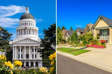 Photo combination of the California Capitol and a neighborhood