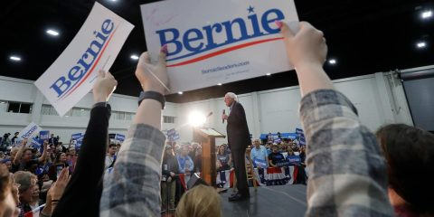 Photo of Sen. Bernie Sanders at a campaign event
