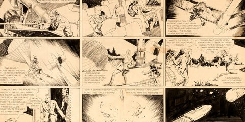 "Photo of artwork for the ""Flash Gordon"" comic strip"