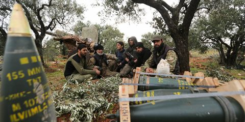 Photo of Turkish backed Syrian fighters taking a break in Neirab