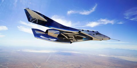 Photo of the VSS Unity craft during a supersonic flight test