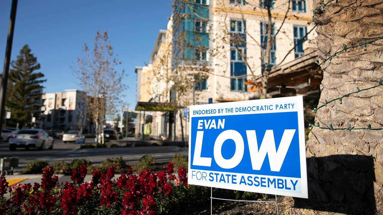 Photo of a campaign sign for Evan Low
