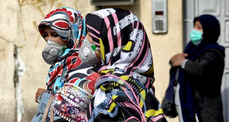 Photo of people wearing face masks in Tehran, Iran