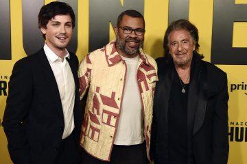 "Photo of Jordan Peele, center, executive producer of the Amazon Prime Video series ""Hunters,"" posing with cast members Logan Lerman, left, and Al Pacino"