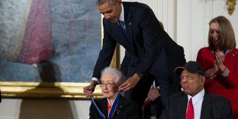 Photo of President Barack Obama presenting the Presidential Medal of Freedom to NASA mathematician Katherine Johnson