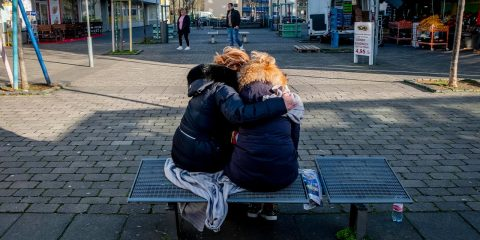 Photo of two women mourning in Germany