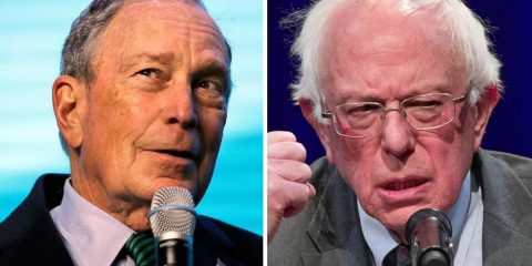 Photo combination of Mike Bloomberg and Bernie Sanders