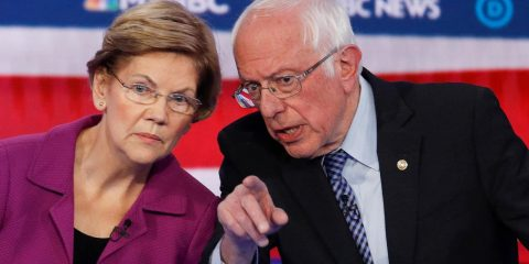 Photo of Elizabeth Warren and Bernie Sanders
