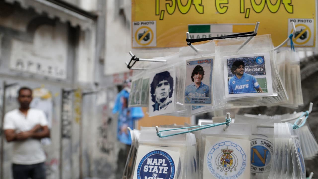 Photo of stickers of soccer legend and former Napoli player Diego Armando Maradona