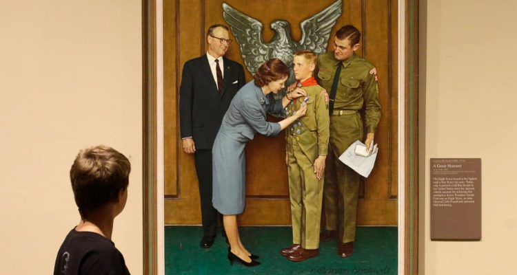 Photo of one of the twenty-three original, Boy Scout-themed Norman Rockwell paintings during an exhibition at the Church History Museum in Salt Lake City
