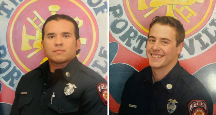 Photo of firefighter Patrick Jones and Capt. Raymond Figueroa