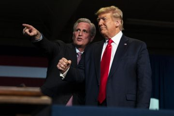 Photo of House Minority Leader Kevin McCarthy and President Donald Trump in McCarthy's home town of Bakersfield, California