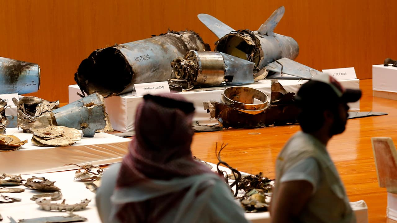 Photo of Saudi military display of what they say are an Iranian cruise missile and drones used in recent attacks on its oil industry at Saudi Aramco's facilities in Abqaiq and Khurais