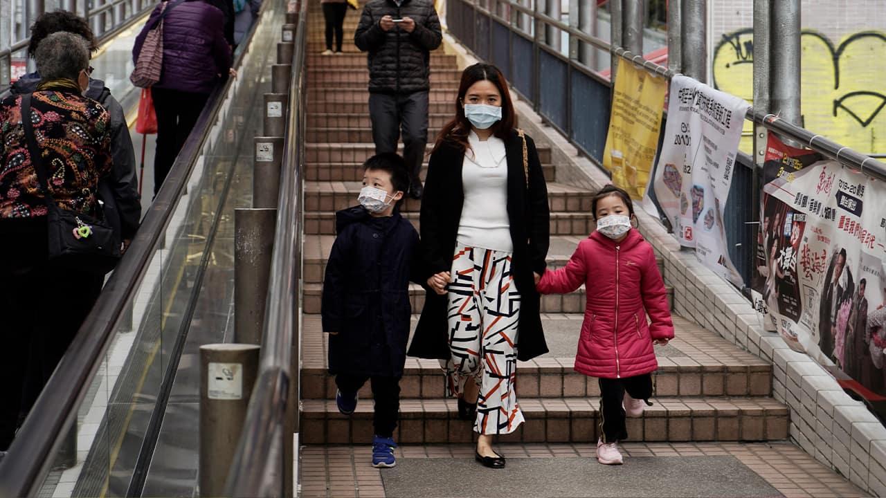 Photo of people wearing masks in Hong Kong