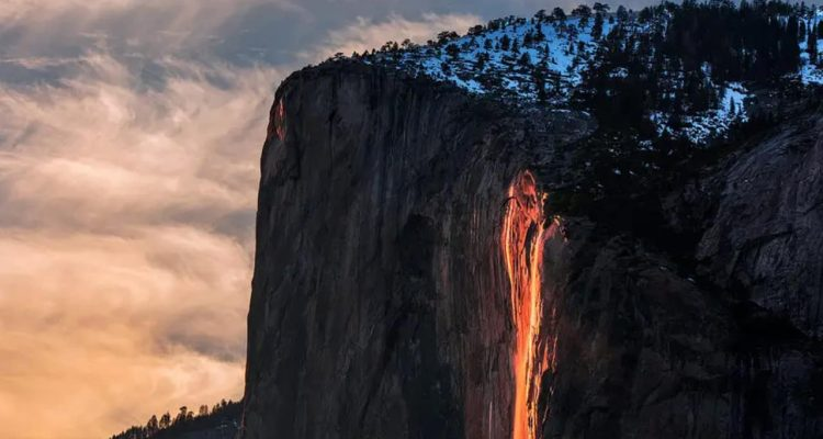 Photo of the firefall in Yosemite