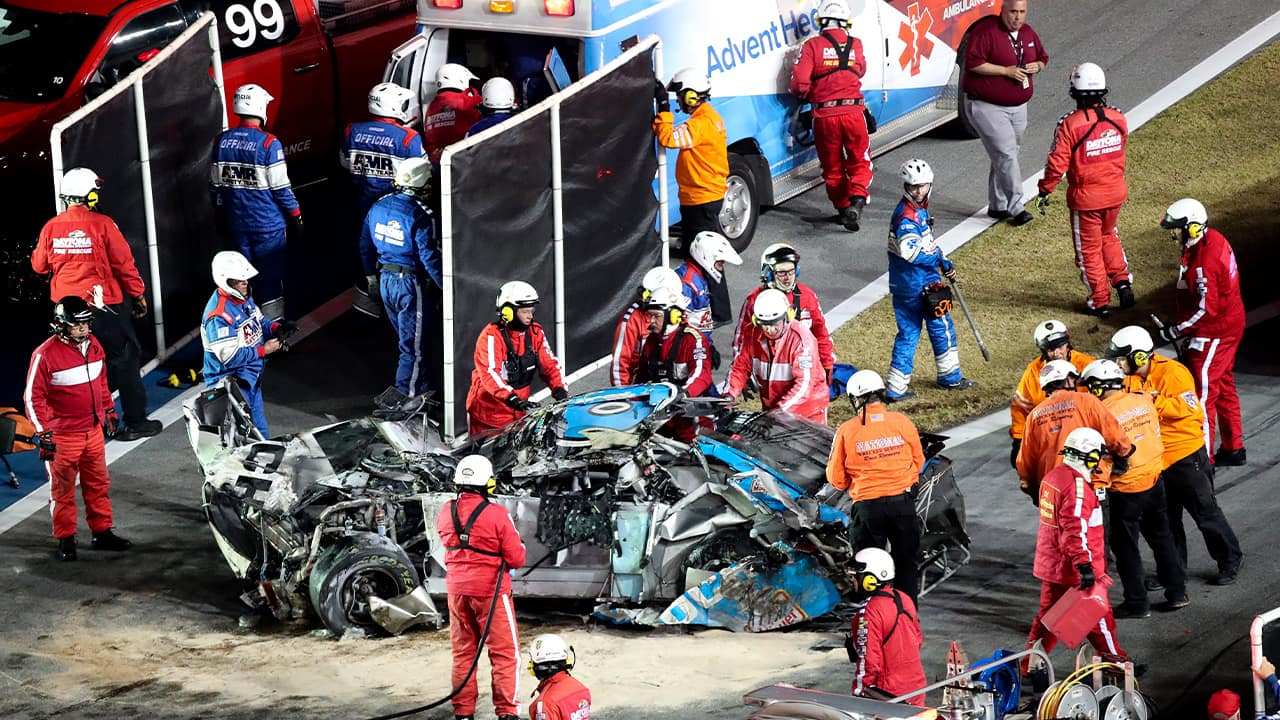 Photo of rescue workers at the Daytona 500