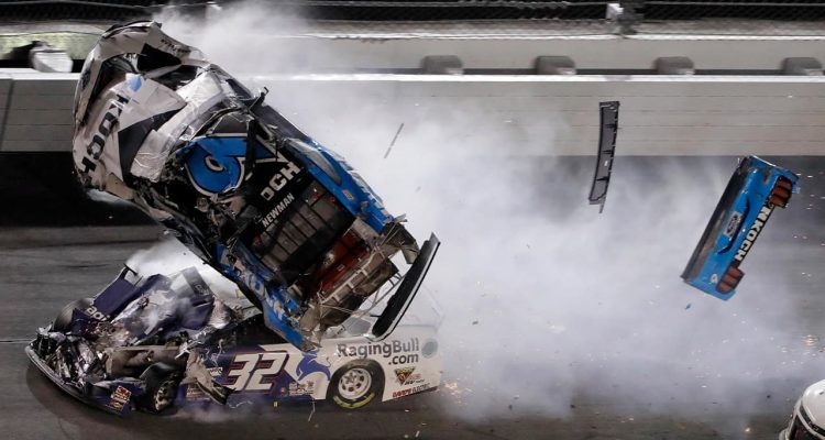 Photo of Ryan Newman (6) going airborne after crashing into Corey LaJoie (32) during the NASCAR Daytona 500