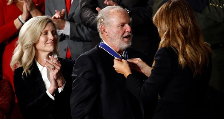 Photo of First Lady Melania Trump presenting Rush Limbaugh with the Presidential Medal of Freedom