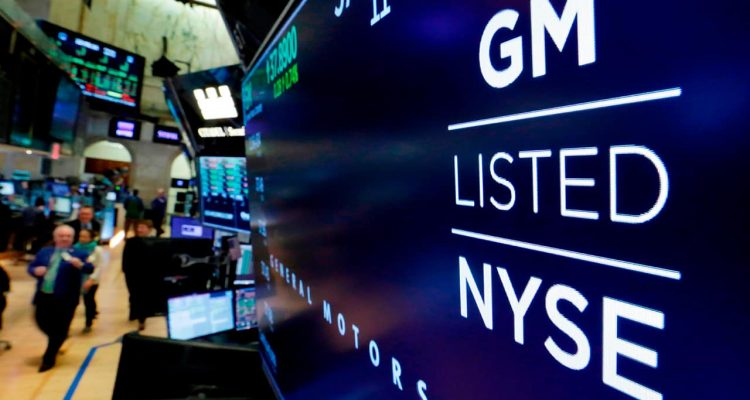 Photo of a logo for General Motors at the New York Stock Exchange