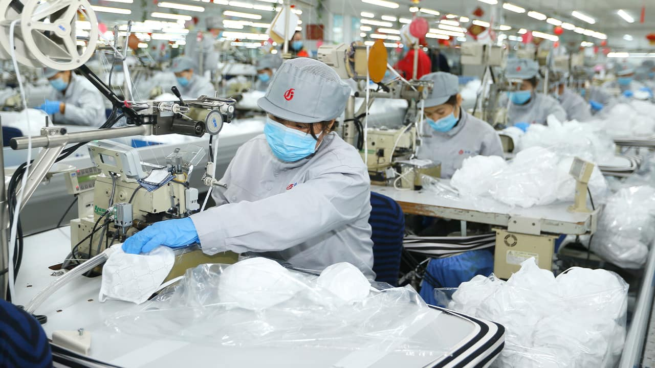 Photo of textile workers in China's Shandong Providence