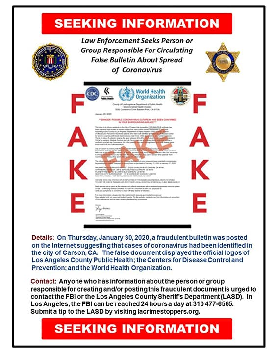 Photo of a fake document that was posted online