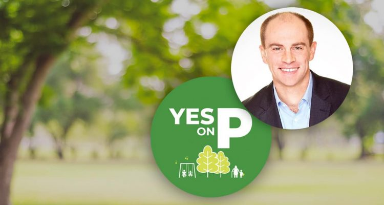 Photo combination of Elliott Balch and the Yes on P logo
