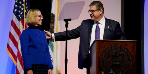 Photo of Joan Eaton with Fresno State President Joseph I. Castro