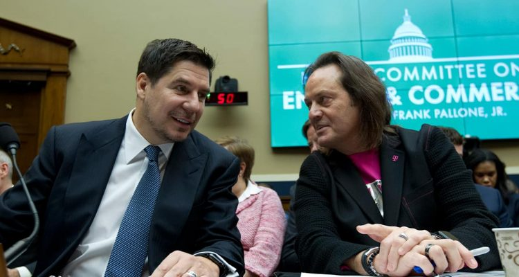 Photo of Sprint Corporation Executive Chairman Marcelo Claure and T-Mobile US CEO and President John Legere during the House Commerce subcommittee hearing on Capitol Hill
