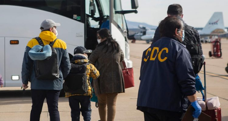 Photo of evacuees from China Arriving in California