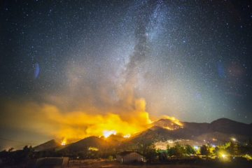 Photo of the Way Fire burning at night in the hills above Wofford Heights in California's Kern County.