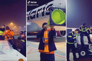 Screenshots of a TikTok video that was filmed at the Fresno Airport