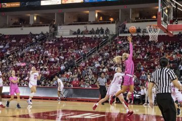 Photo of Fresno State's Maddi Utti going for two of her 20 points against UNLV